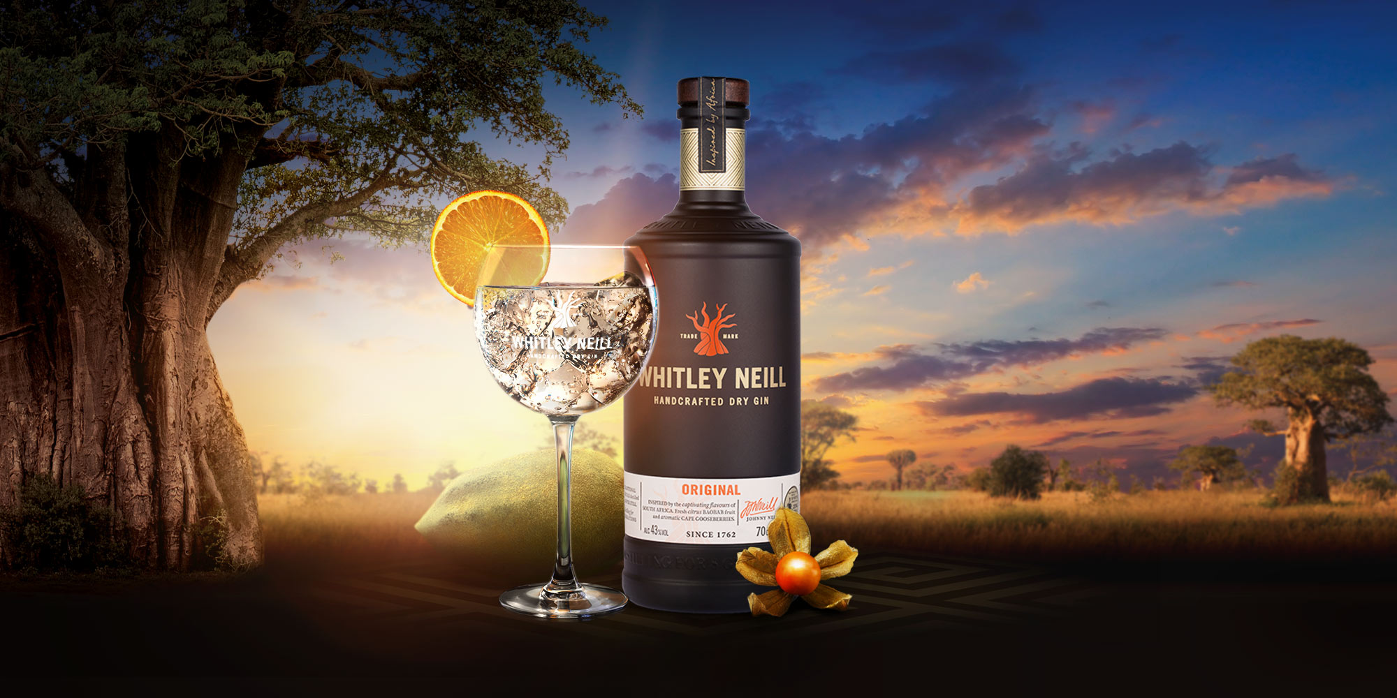Whitley Neill Dry Gin sat on an African background
