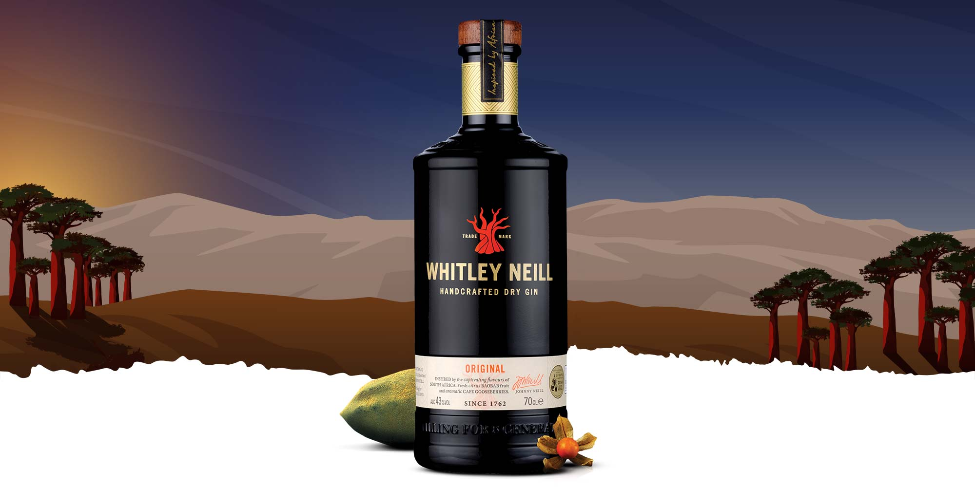 Whitley Neill Original bottle on African sunset