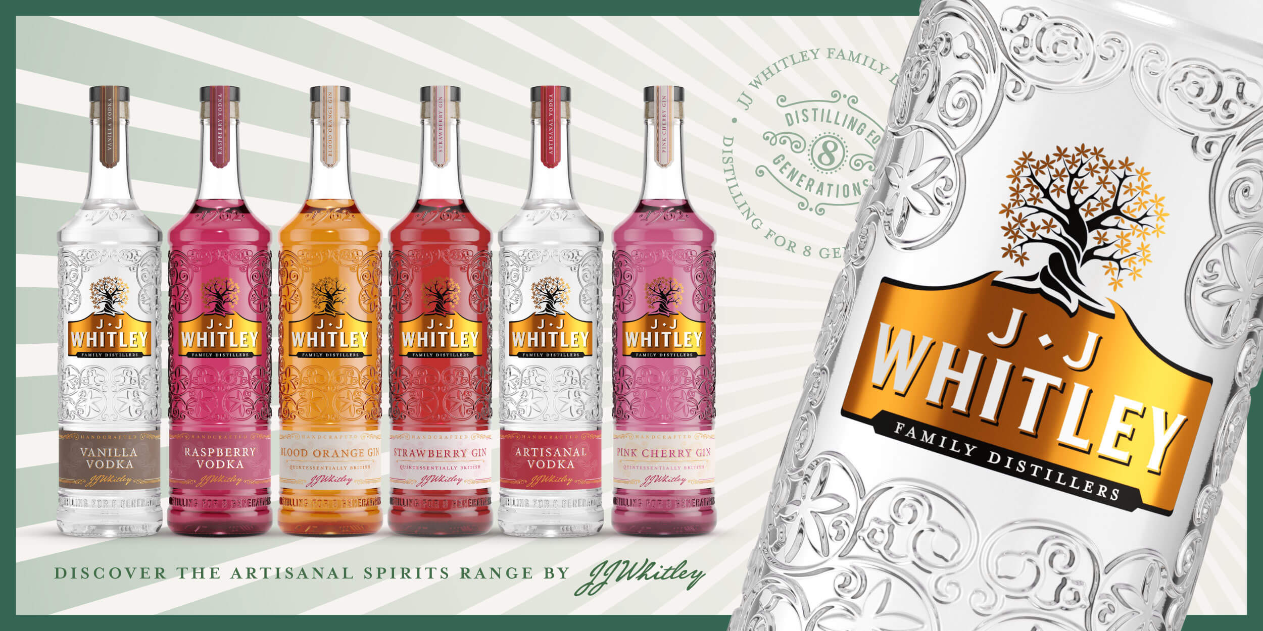 JJ Whitley range of gins and vodkas