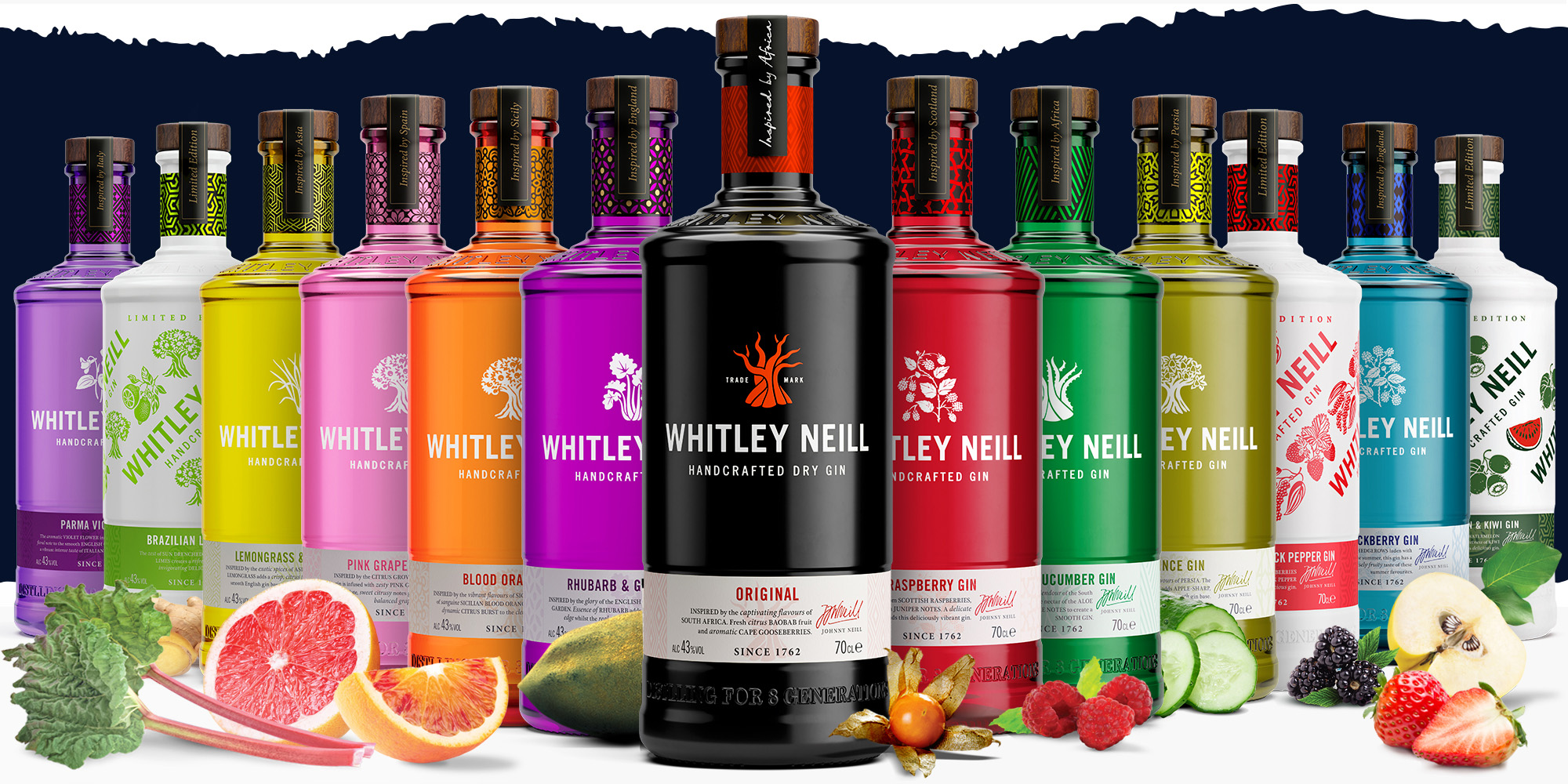 Whitley Neill Range of Gins with flavours
